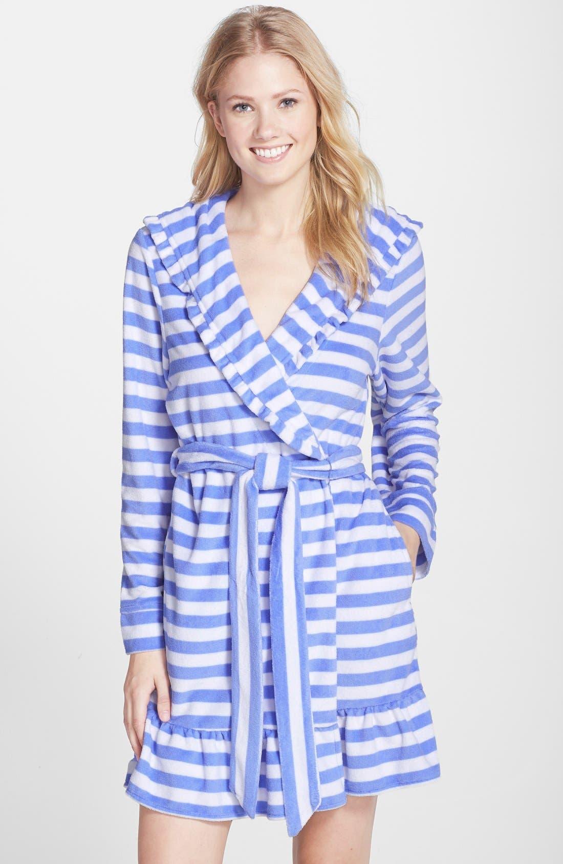 Main Image - Betsey Johnson Hooded Stripe Terry Robe