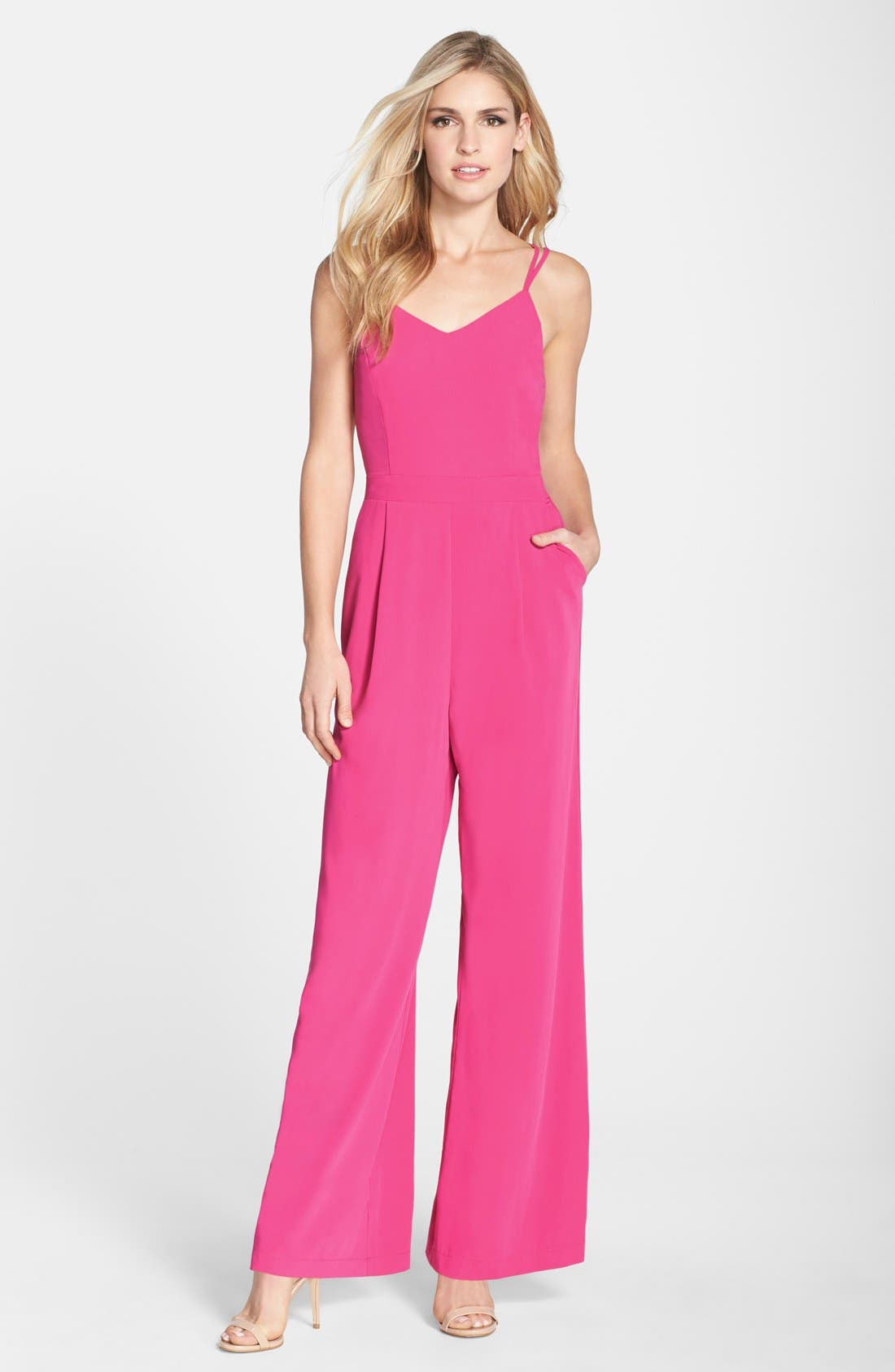 Alternate Image 1 Selected - Adelyn Rae Strappy Wide Leg Jumpsuit