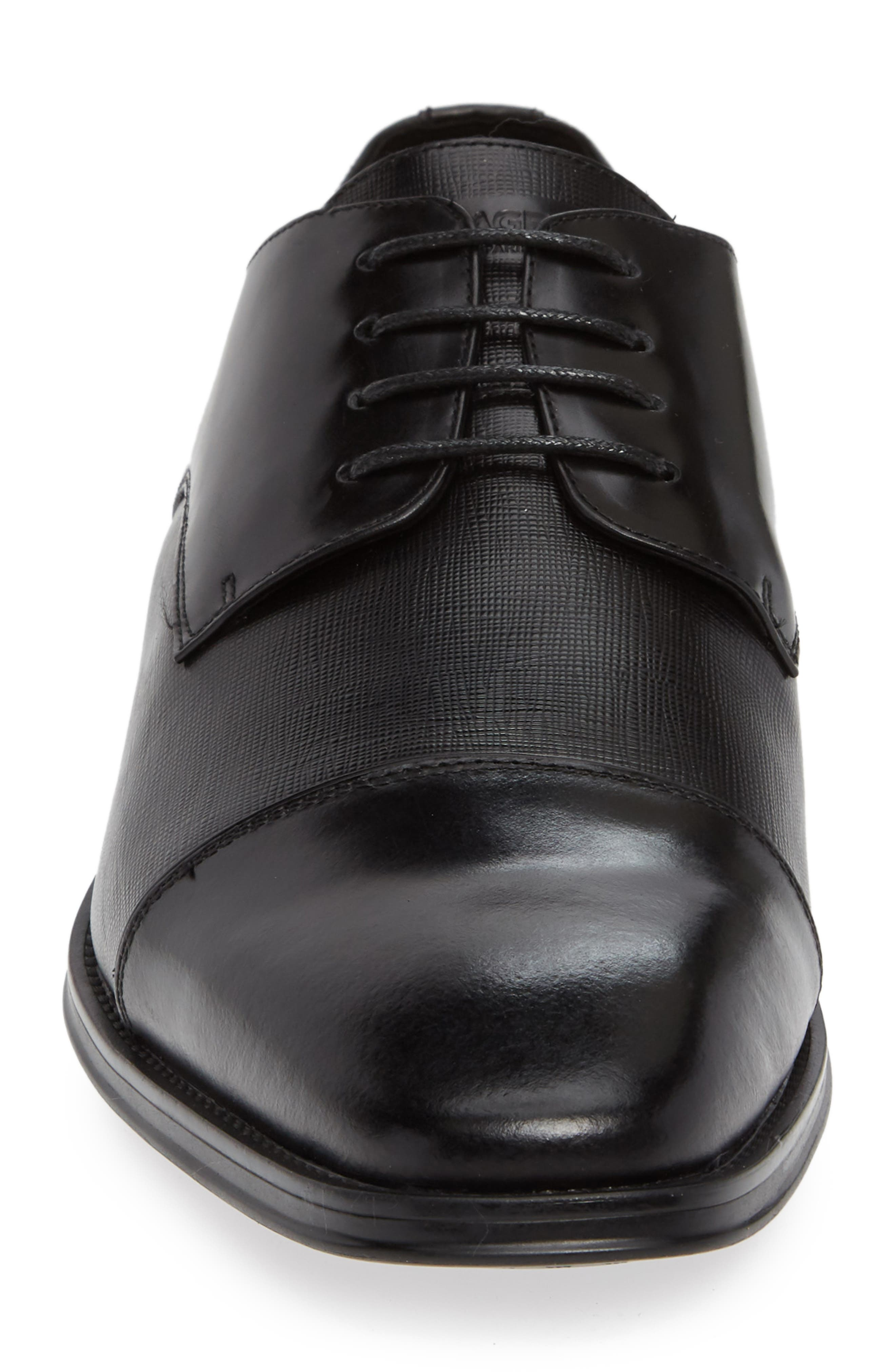 Cap Toe Derby,                             Alternate thumbnail 5, color,                             Black Leather