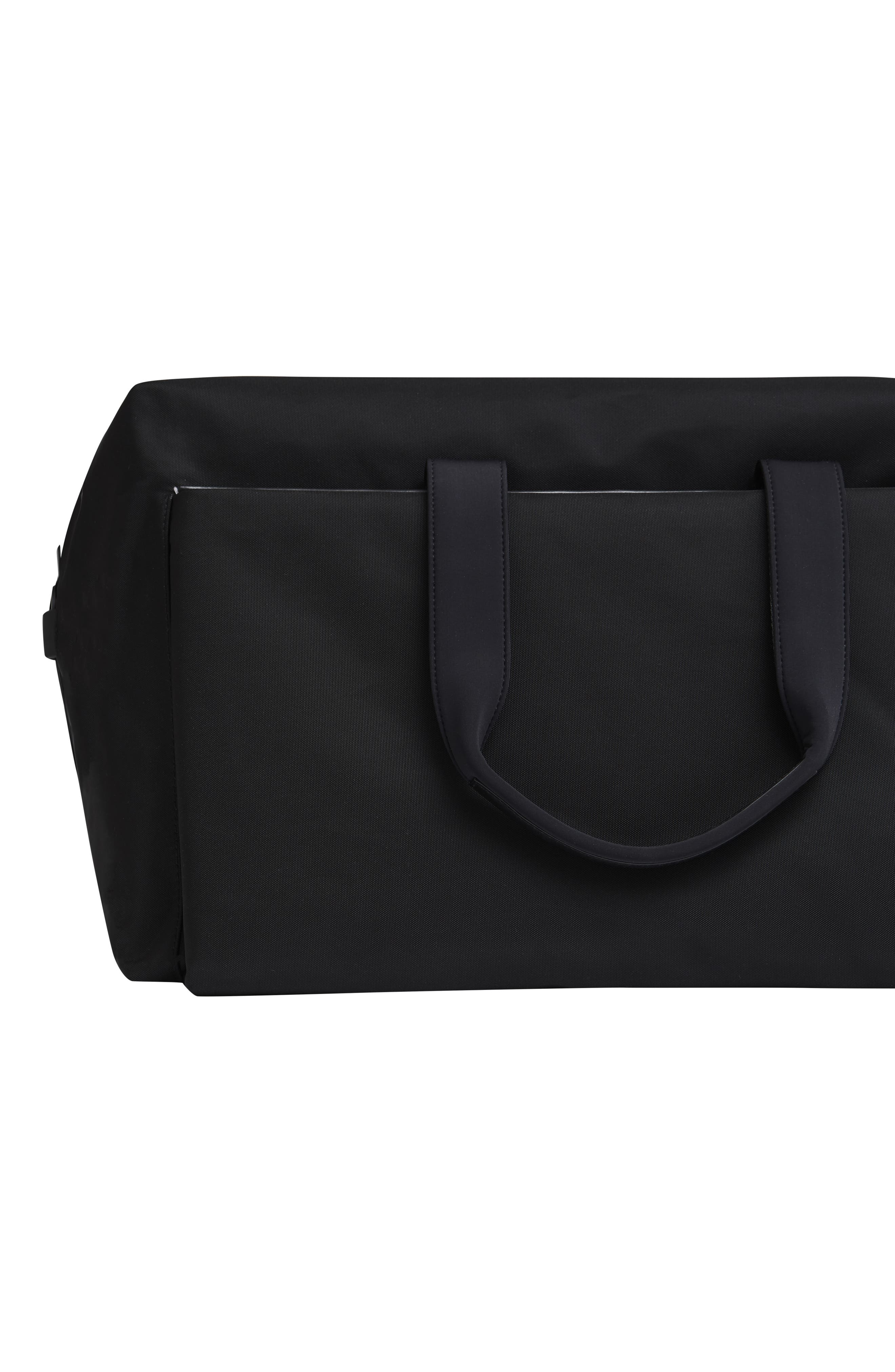 Lightweight Duffel Bag,                             Alternate thumbnail 5, color,                             Black Nylon/ Black Leather