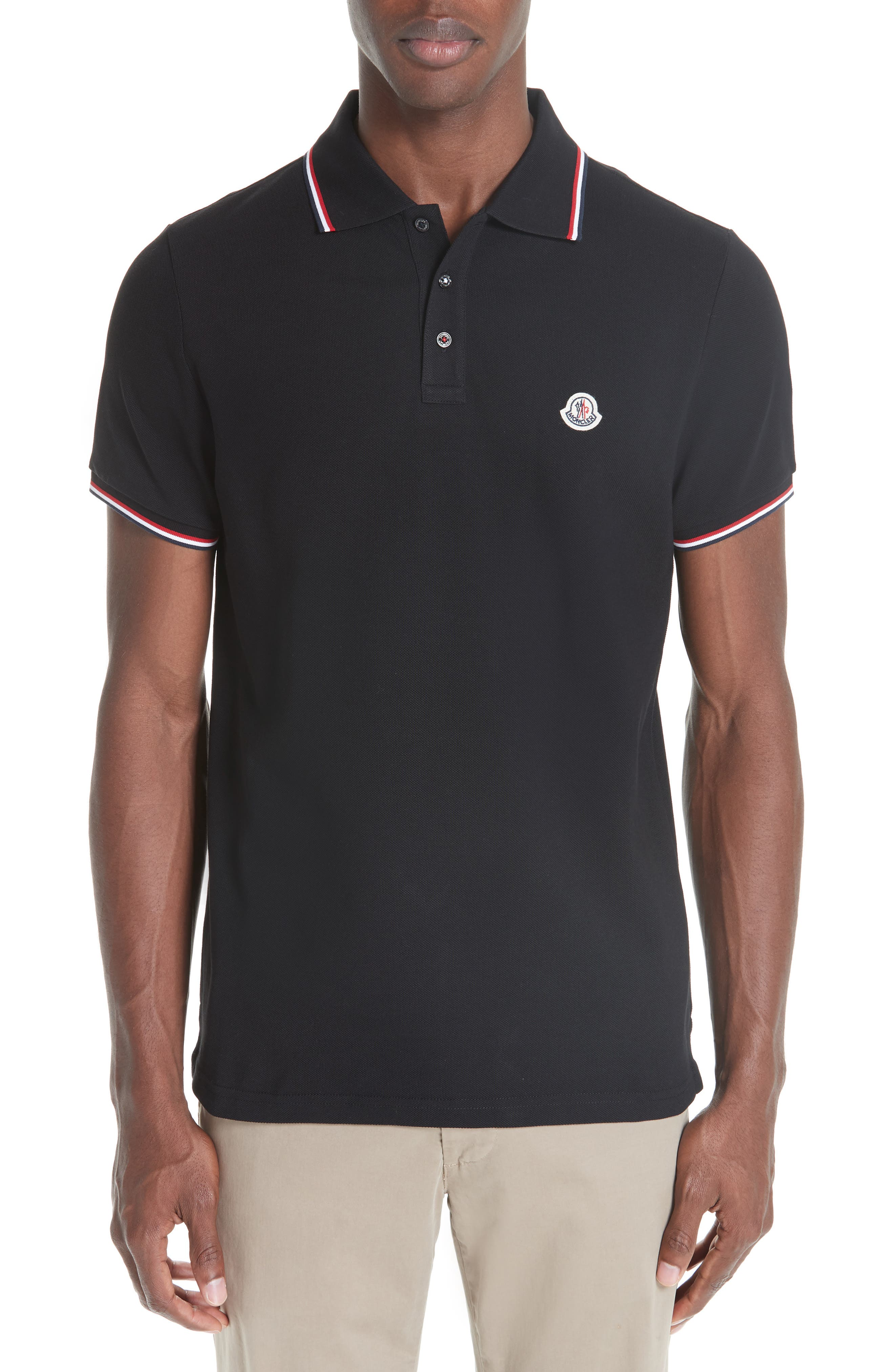moncler black and grey polo