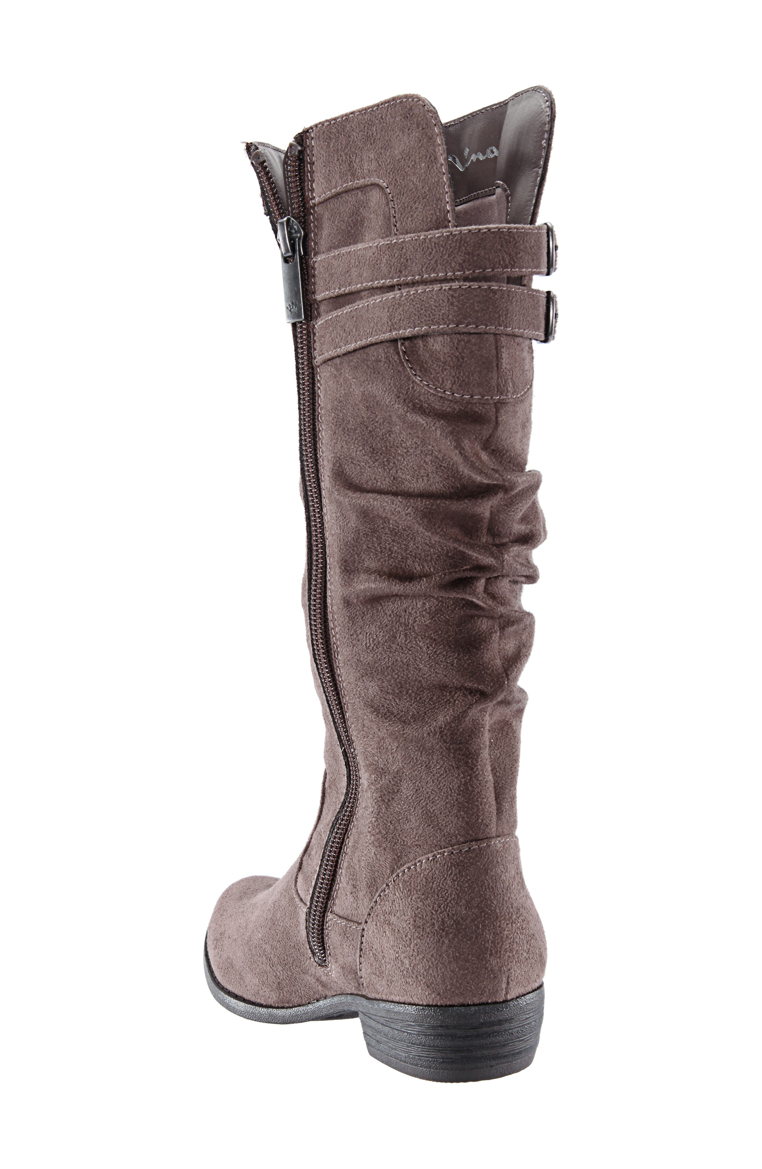 Gilda Tall Slouchy Boot,                             Alternate thumbnail 2, color,                             Taupe Burnished Micro Suede
