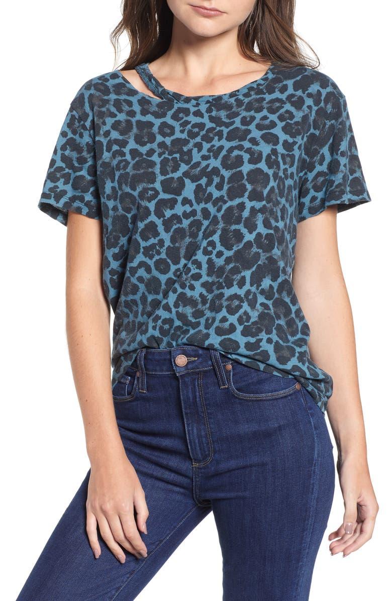 Leopard Print Cutout Tee,                         Main,                         color, Blue Leopard Print