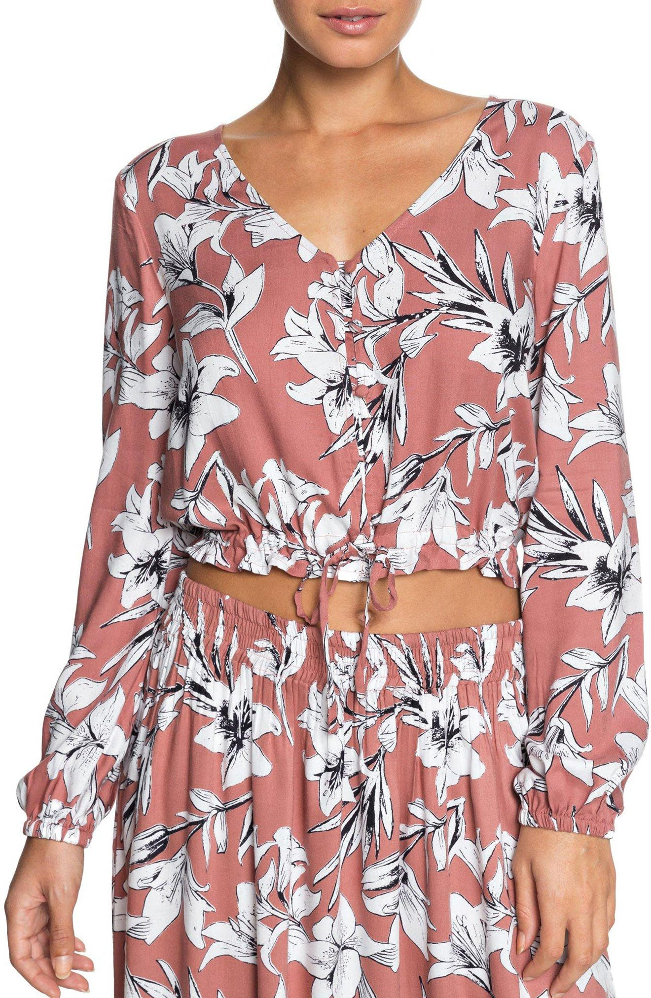 Morning Ritual Crop Blouse,                         Main,                         color, Withered Rose Lily House