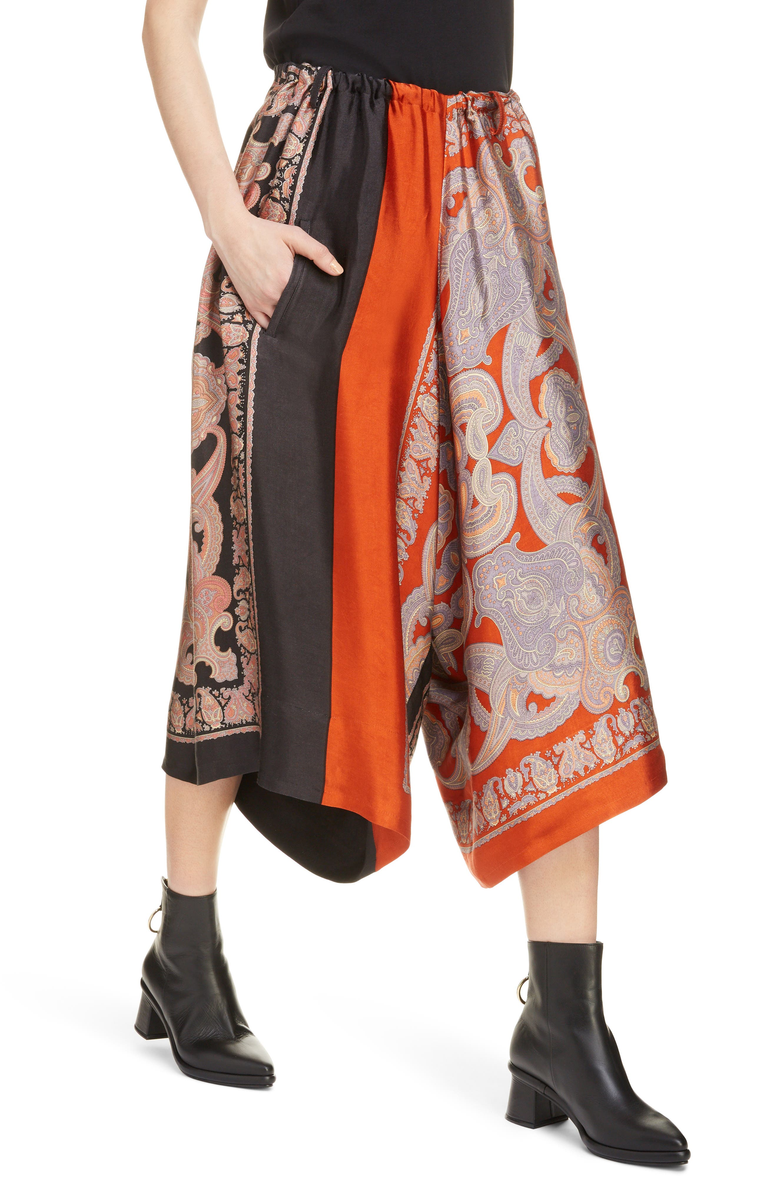 Scarf Culottes,                             Alternate thumbnail 4, color,                             Red
