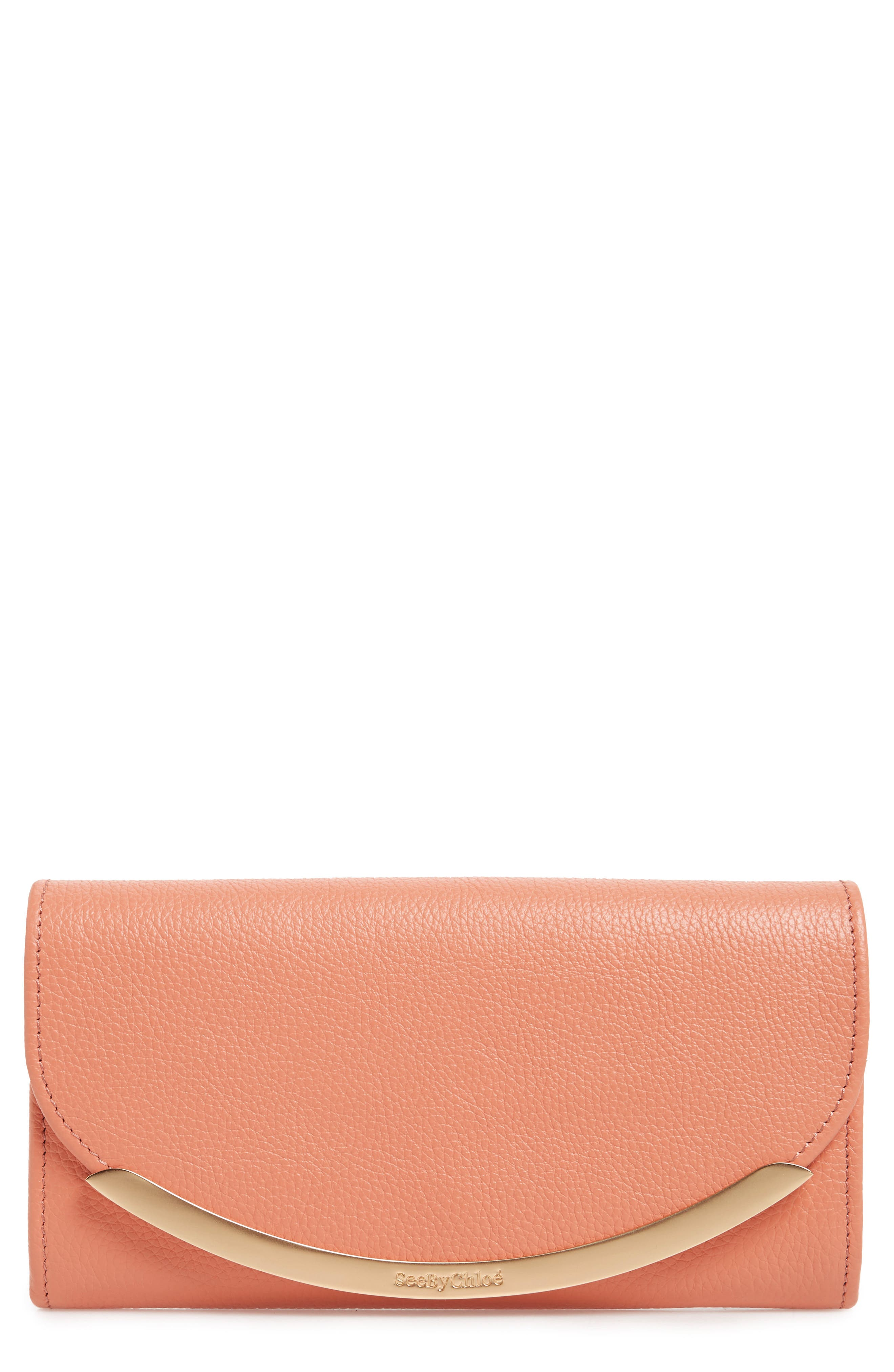 Lizzie Leather Continental Wallet,                         Main,                         color, Canyon Sunset