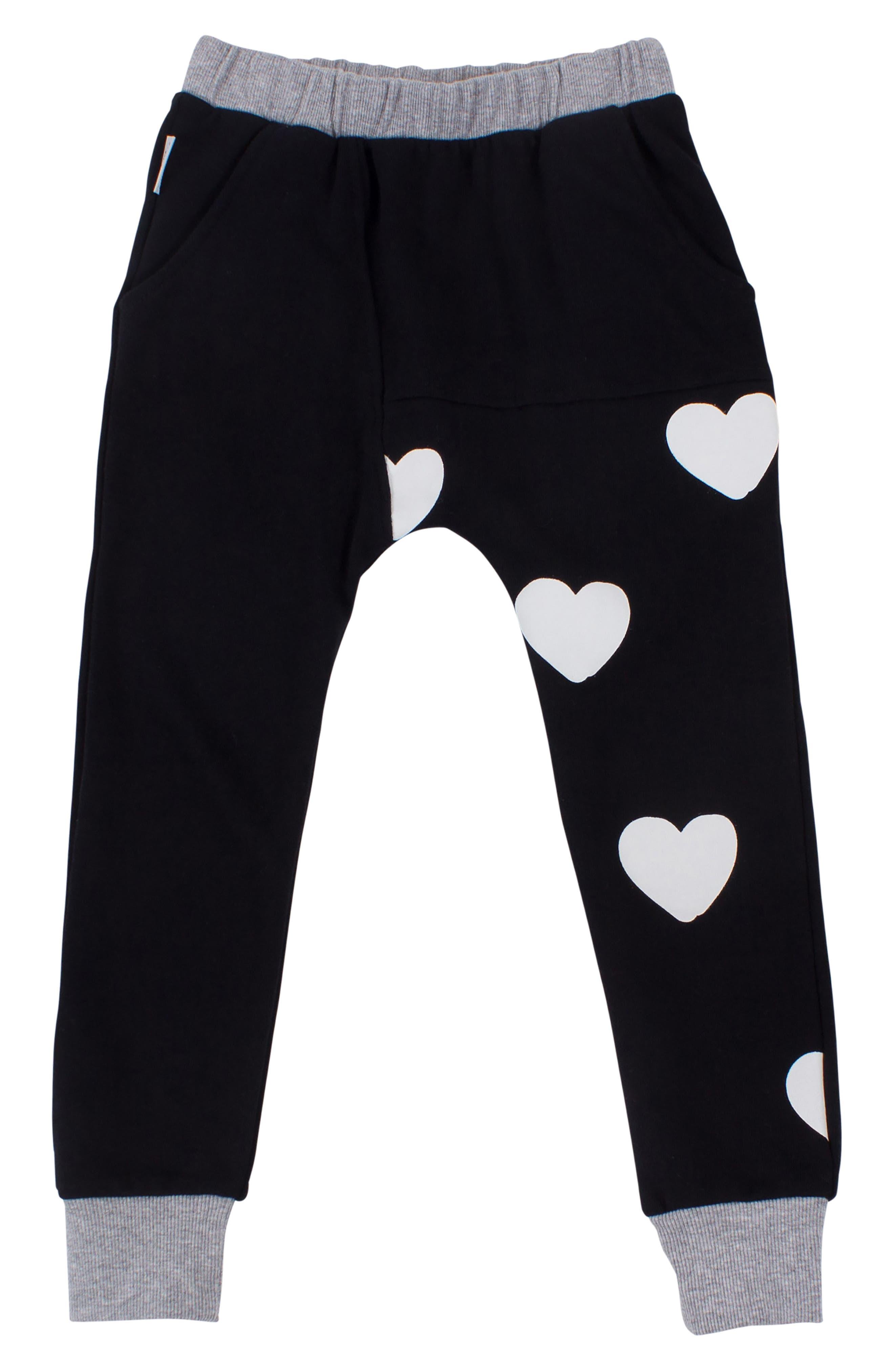 Heart Print Sweatpants,                             Main thumbnail 1, color,                             Black