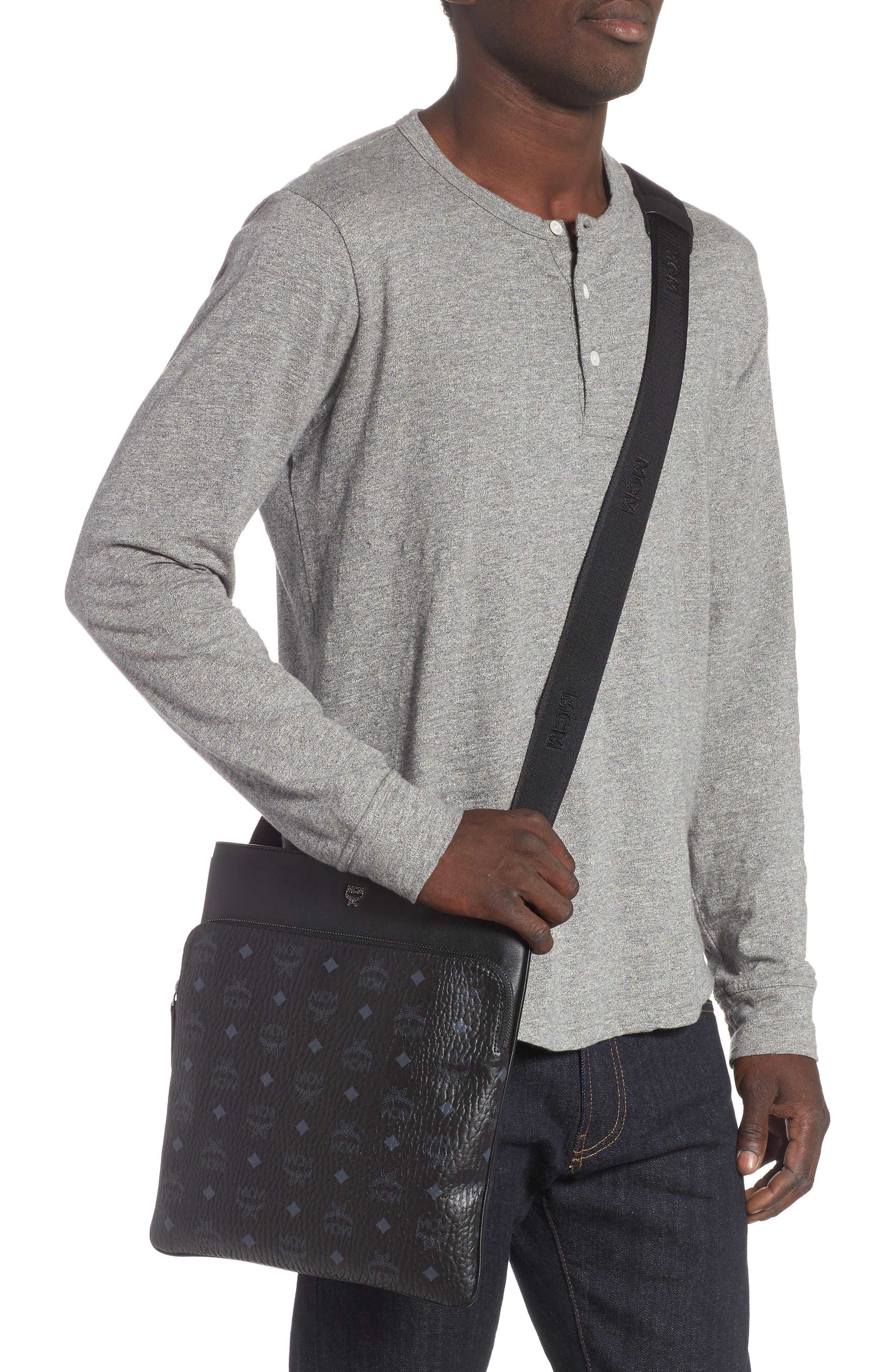Ottomar Visetos Faux Leather Crossbody Bag,                             Alternate thumbnail 2, color,                             Black