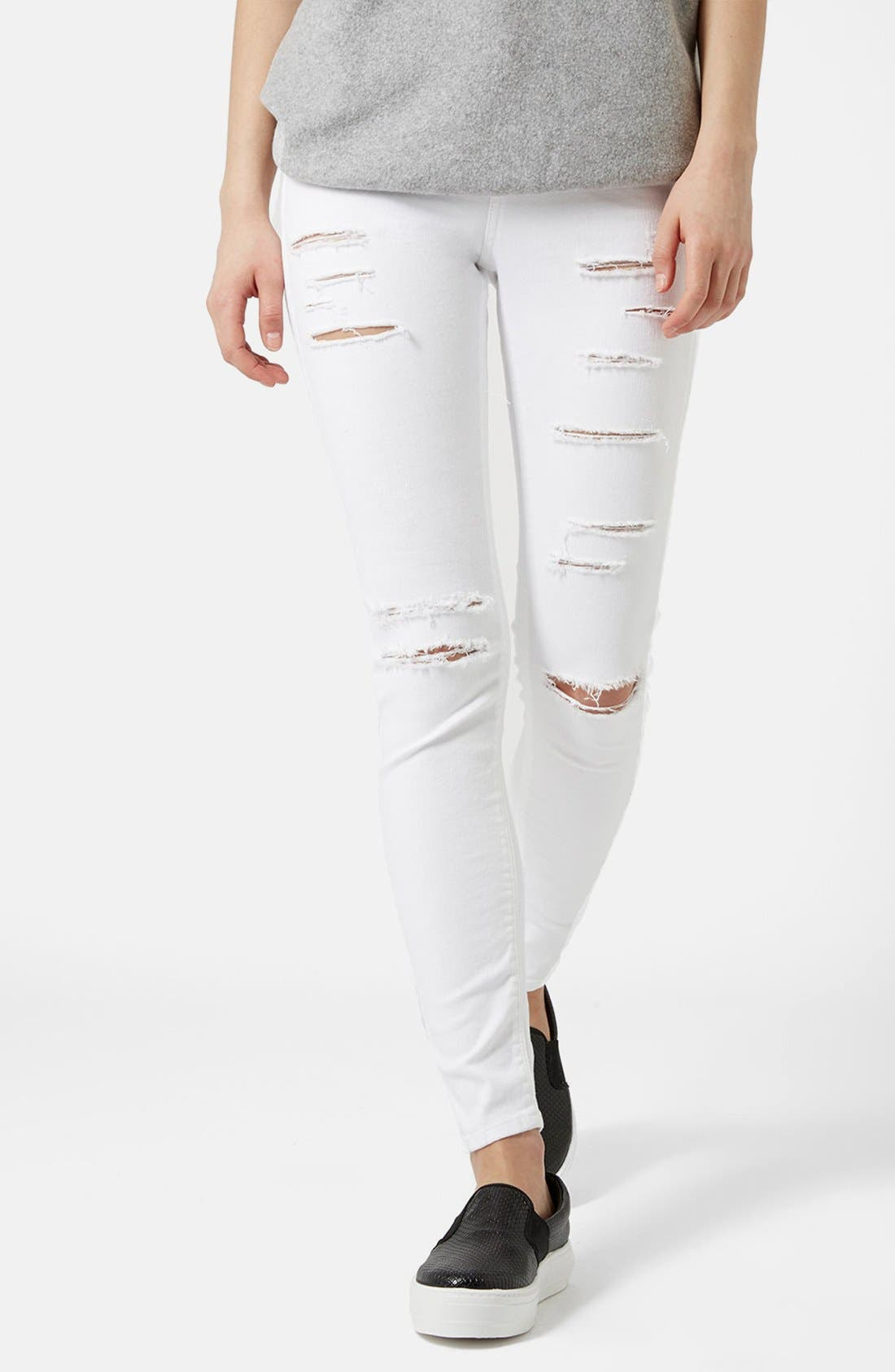 Alternate Image 1 Selected - Topshop Moto 'Jamie' Ripped Skinny Jeans