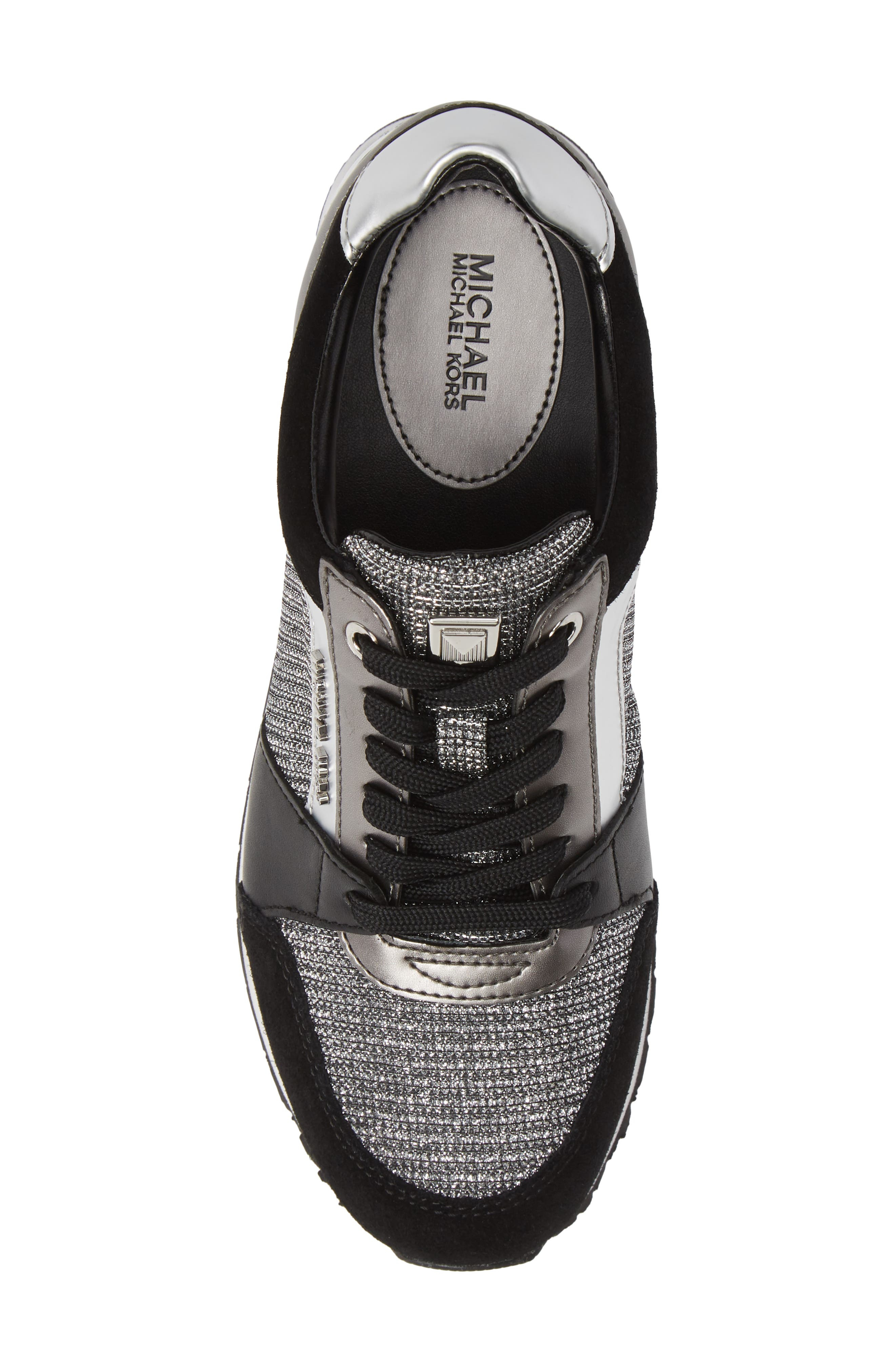 Billie Perforated Sneaker,                             Alternate thumbnail 4, color,                             Black/ Silver