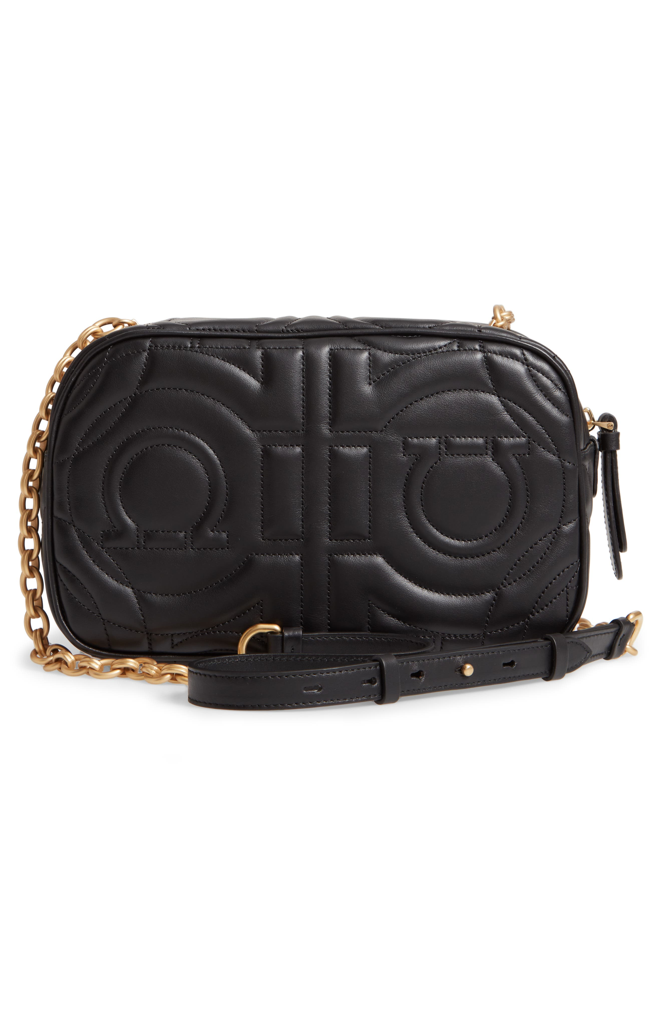 City Quilted Gancio Leather Camera Bag,                             Alternate thumbnail 5, color,                             Black
