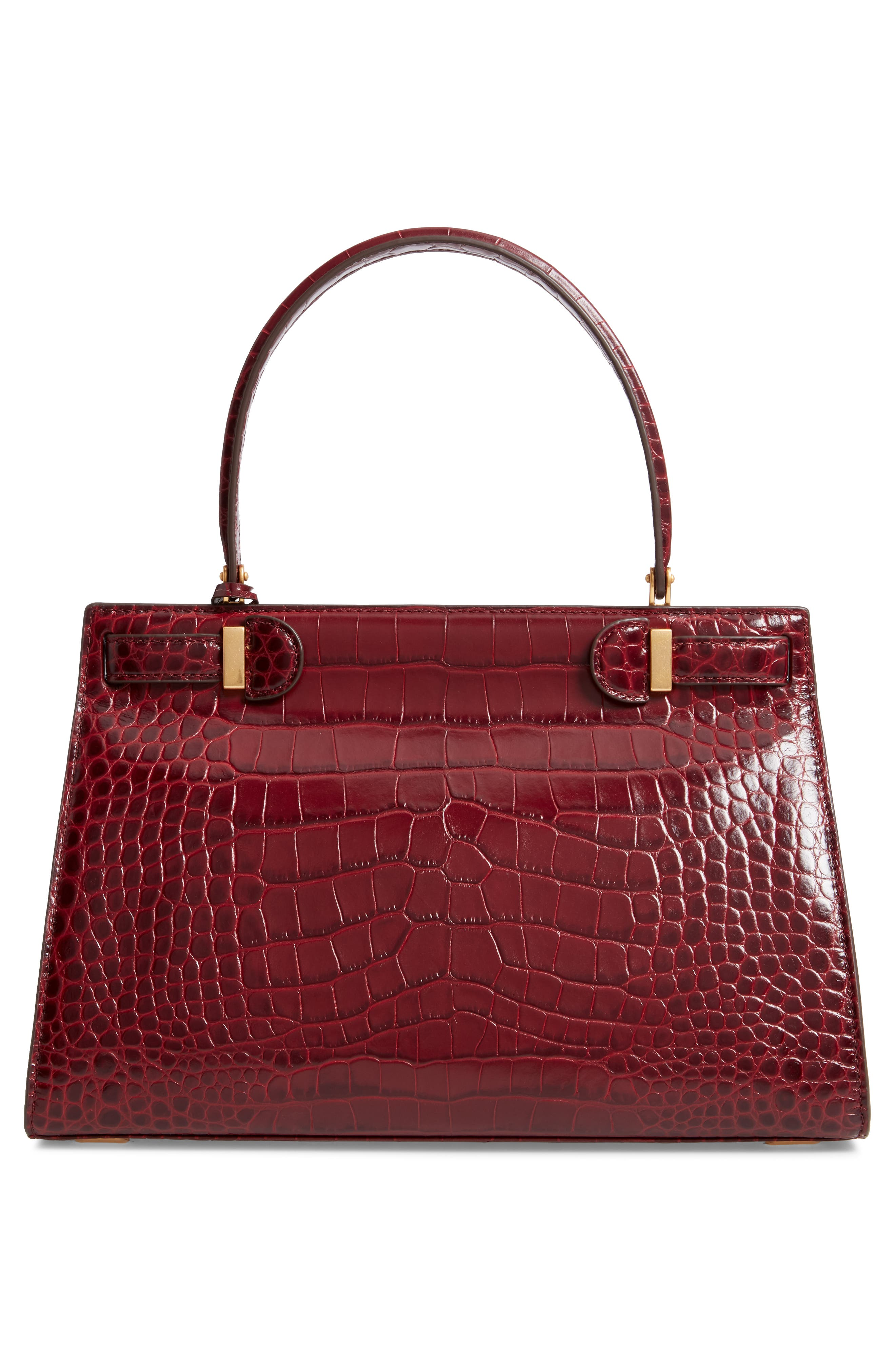 Lee Radziwill Leather Satchel,                             Alternate thumbnail 4, color,                             Claret
