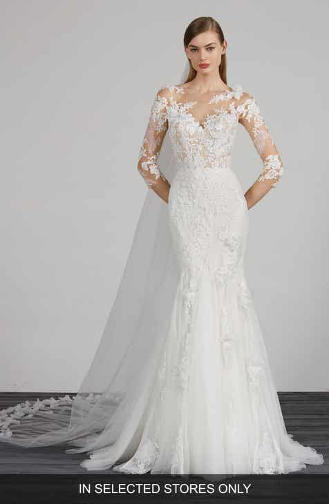 d4460fba9c Pronovias Maden Lace   Tulle Mermaid Gown