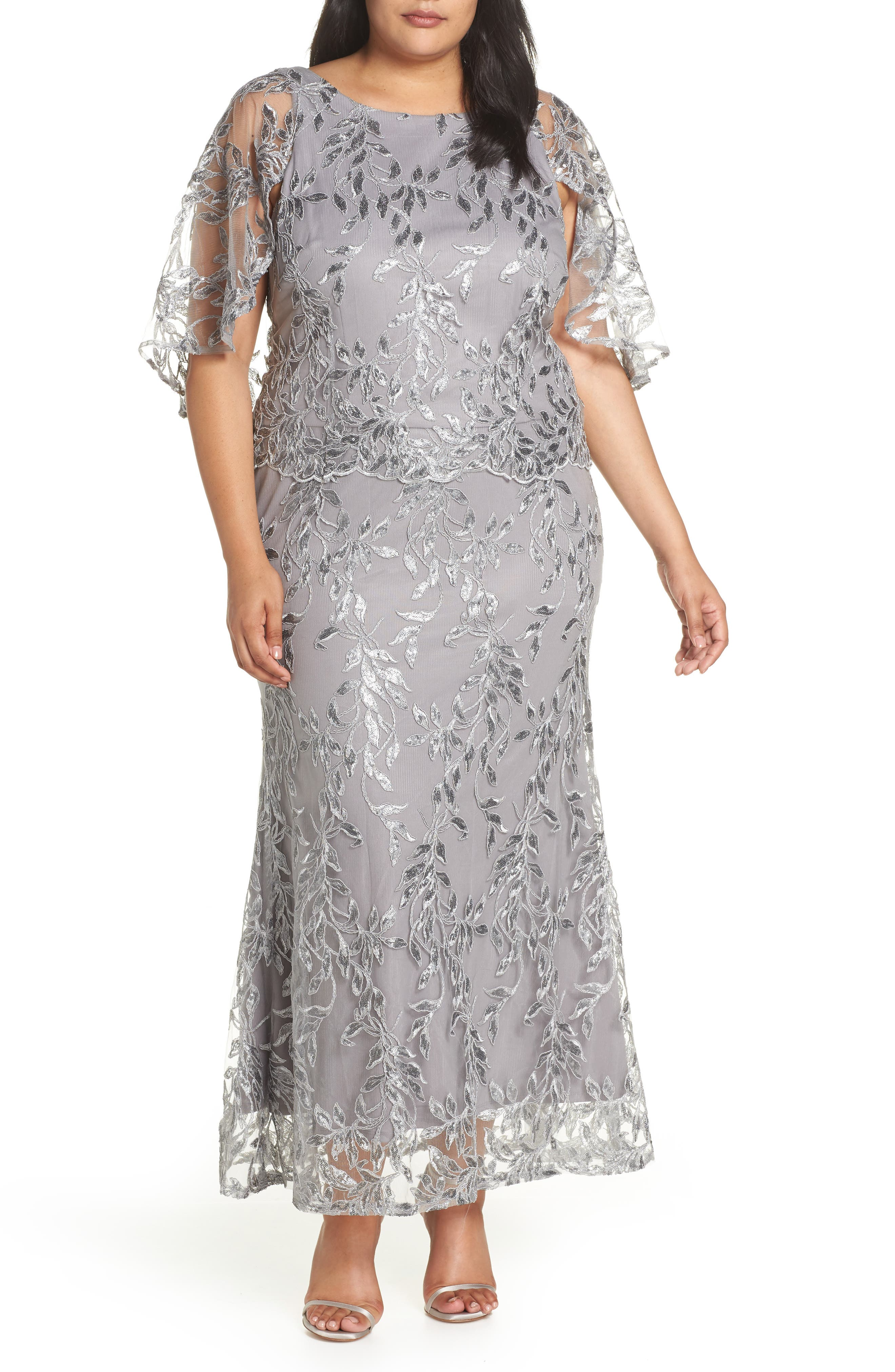 Sequin Embroidered Capelet Gown,                             Main thumbnail 1, color,                             Silver