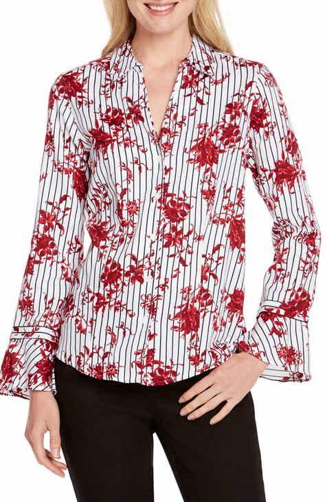 Foxcroft Ellery Floral Stripe Shirt (Regular & Petite)