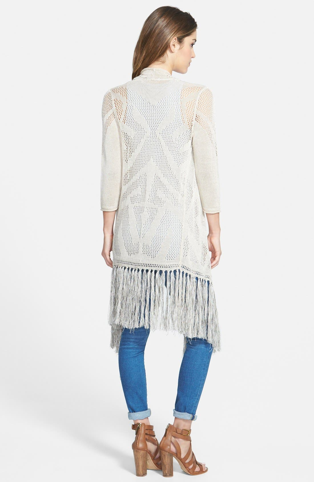 Long Textured Fringe Cardigan,                             Alternate thumbnail 2, color,                             Porcini