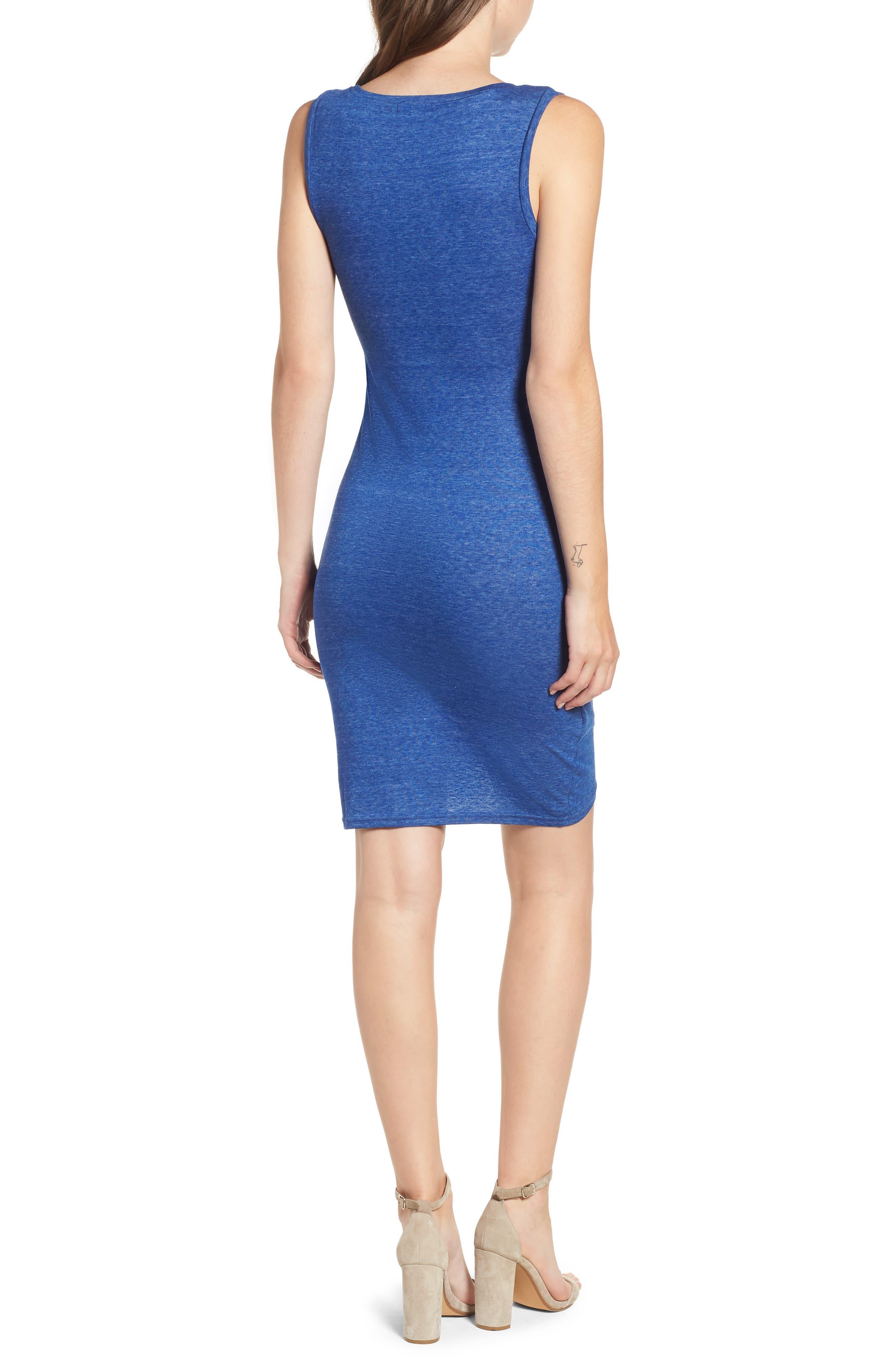 Ruched Body-Con Tank Dress,                             Alternate thumbnail 2, color,                             Blue Mazarine Hthr