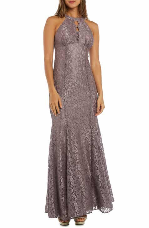3562bfb5cfd Morgan   Co. Glitter Lace Trumpet Gown
