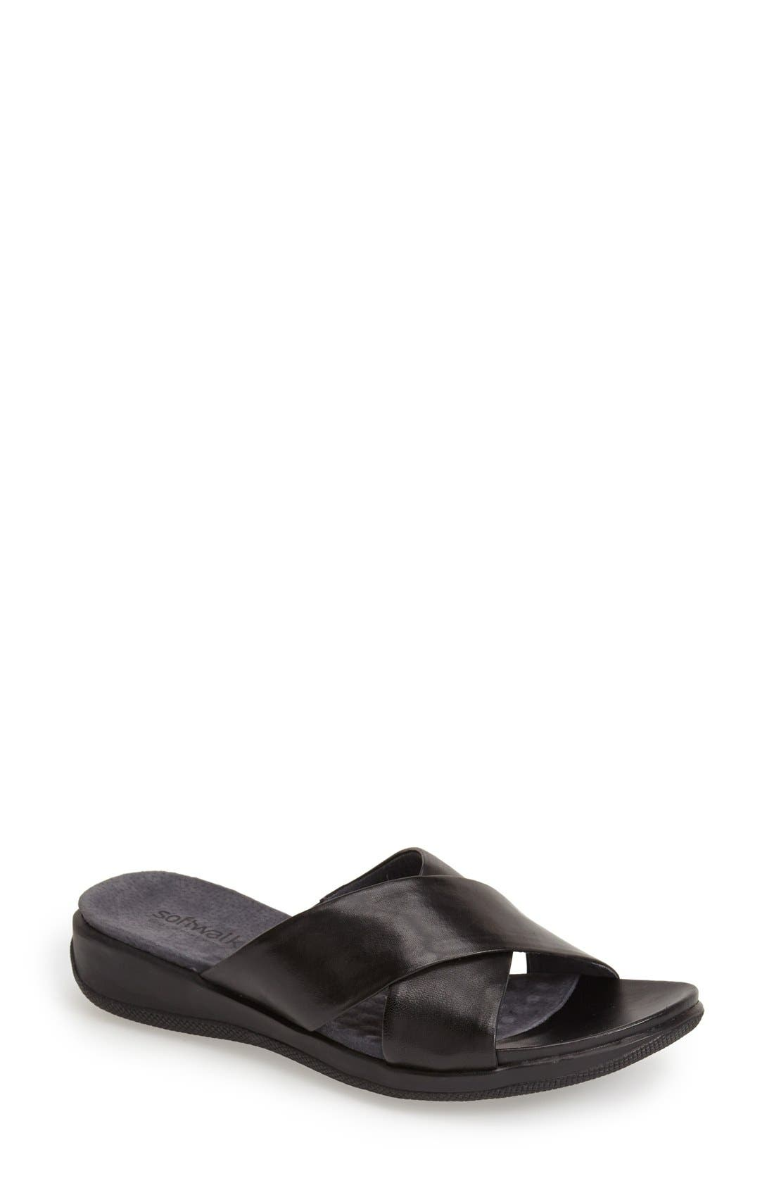 SoftWalk® 'Tillman' Leather Cross Strap Slide Sandal (Women)