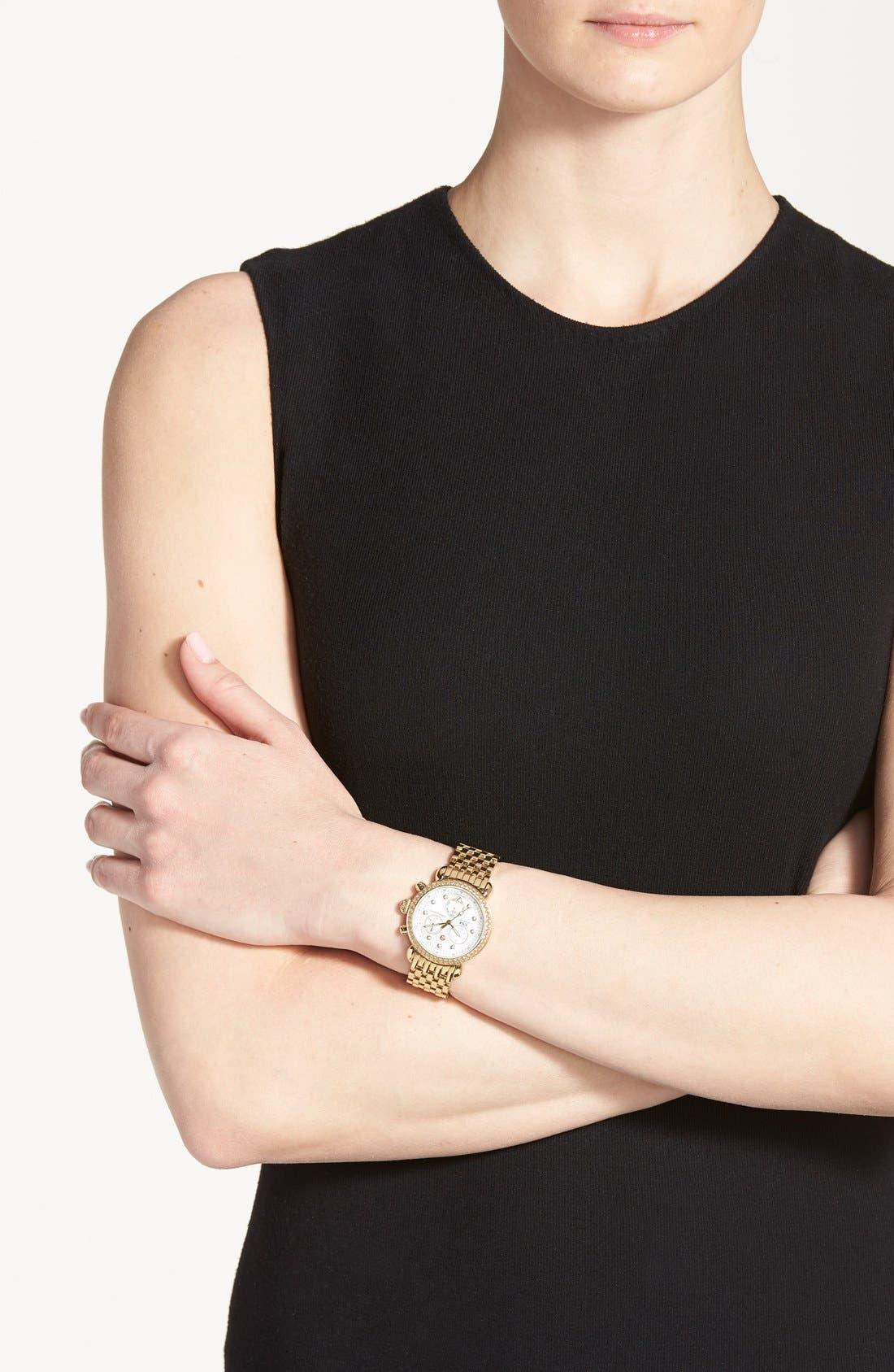 Alternate Image 6  - MICHELE 'CSX-36 Diamond' Diamond Dial Gold Plated Watch Case, 36mm