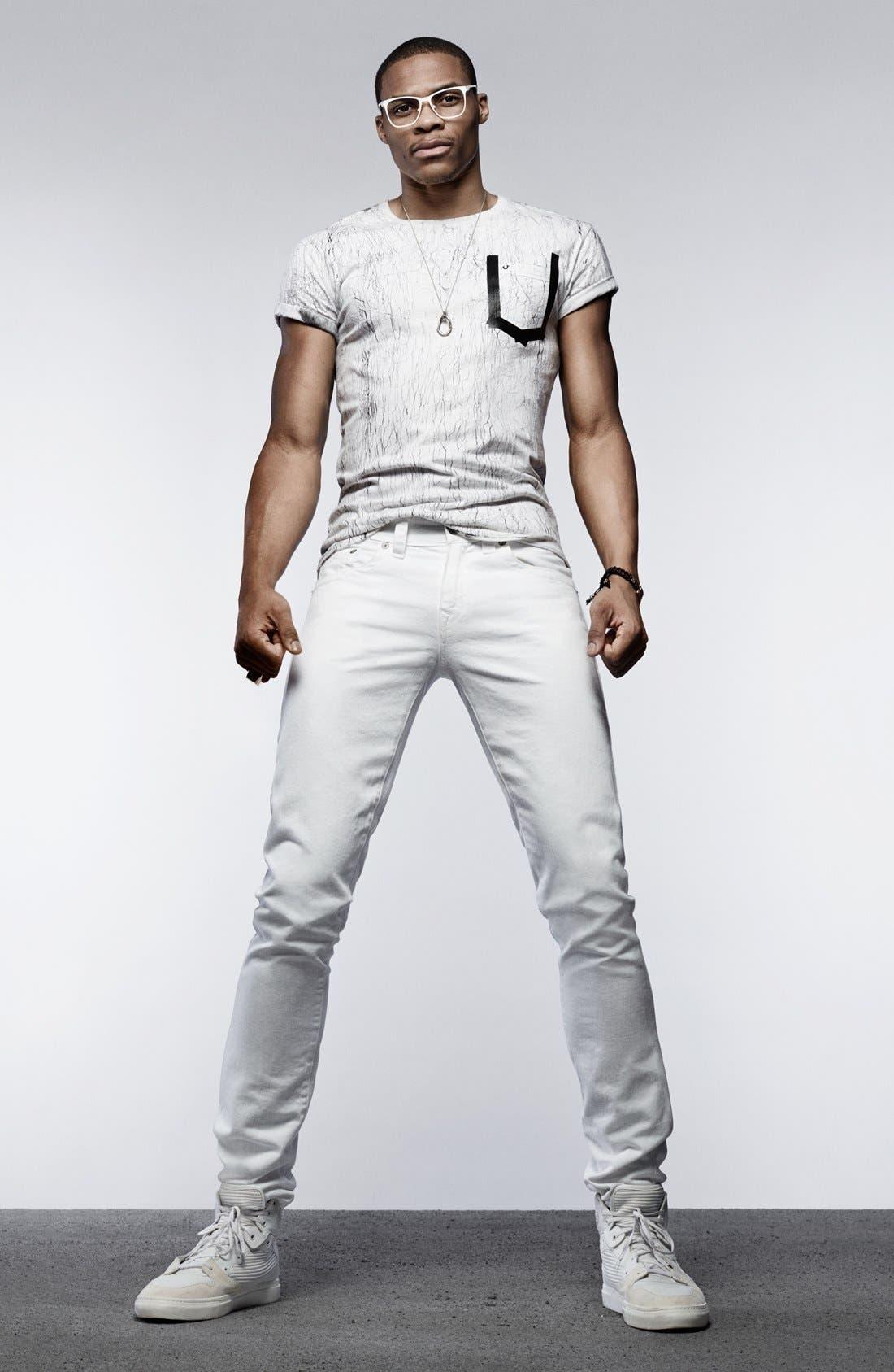 'Geno' Straight Leg Jeans,                             Alternate thumbnail 5, color,                             Optic White