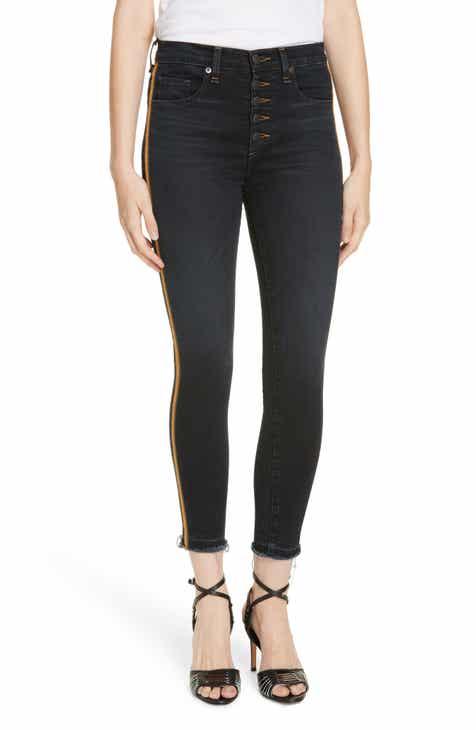 354219965d Veronica Beard Debbie Tuxedo Stripe Skinny Jeans (Dark Slate)