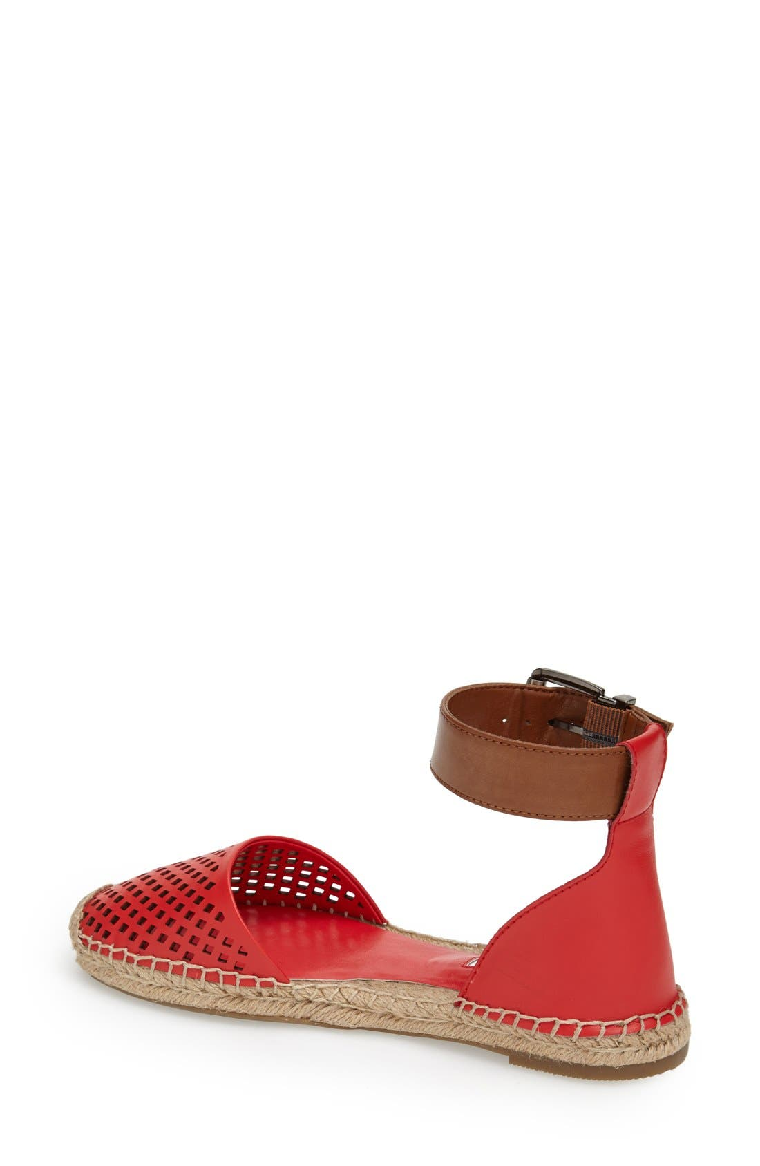 'Felicity 2' Ankle Strap Espadrille Flat,                             Alternate thumbnail 2, color,                             Passion/ Toffee