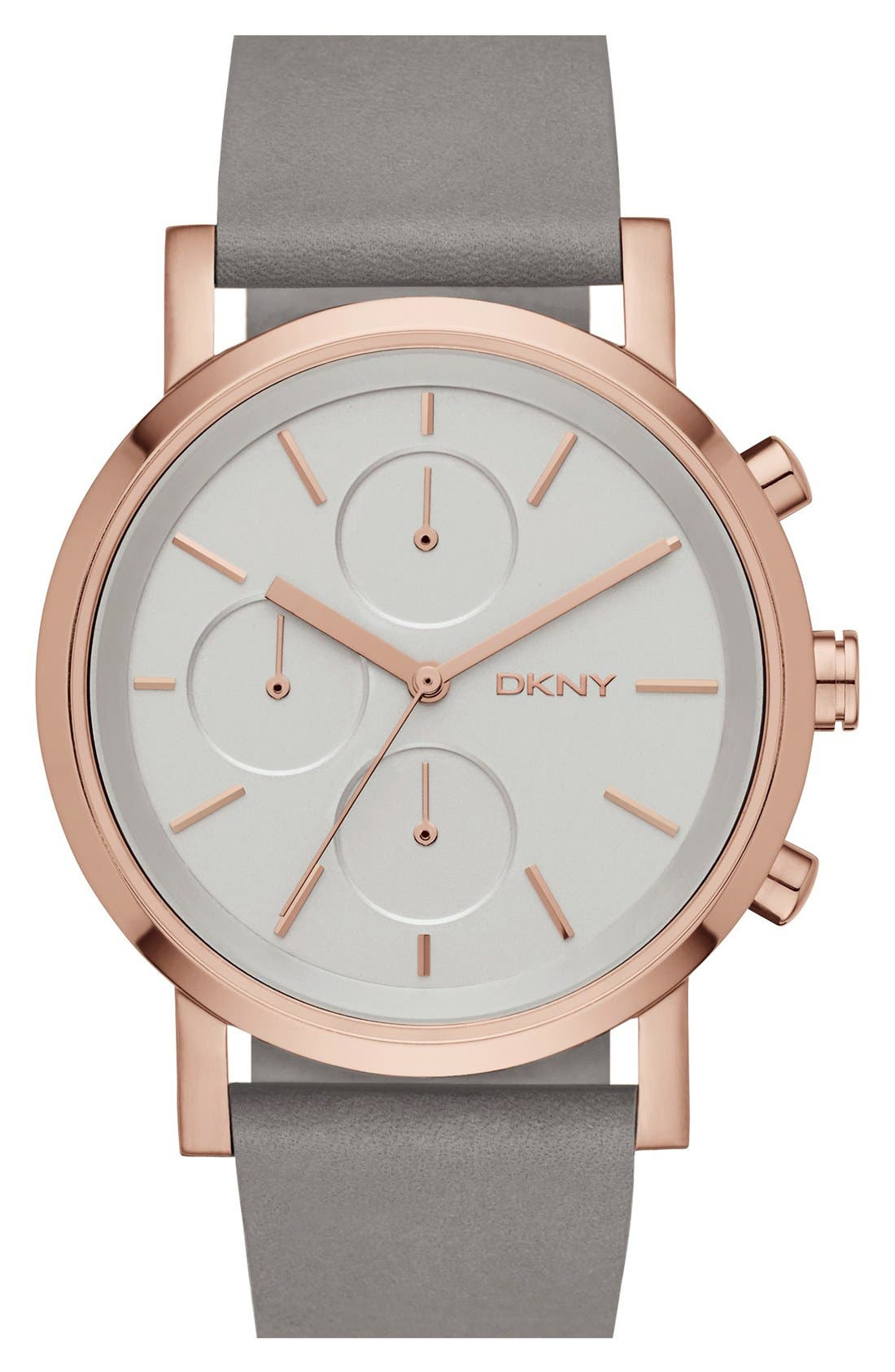 Alternate Image 1 Selected - DKNY 'Soho' Chronograph Leather Strap Watch, 38mm