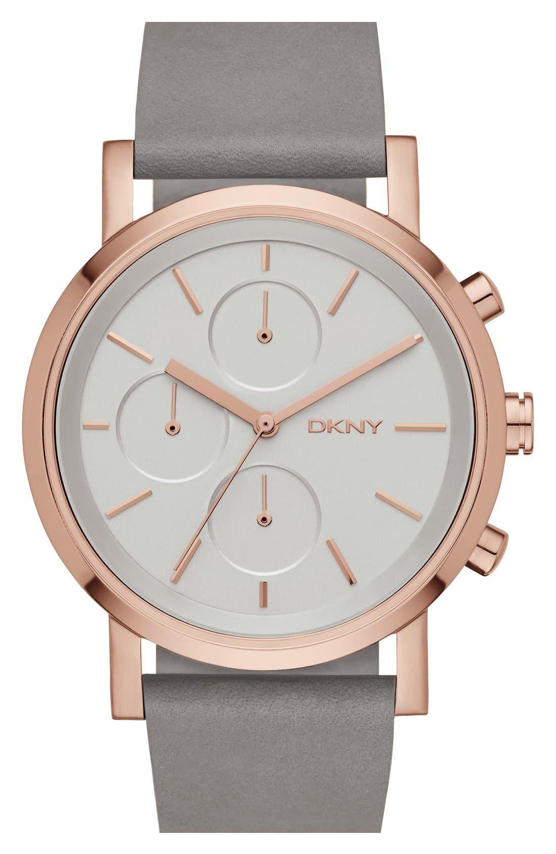 Main Image - DKNY 'Soho' Chronograph Leather Strap Watch, 38mm