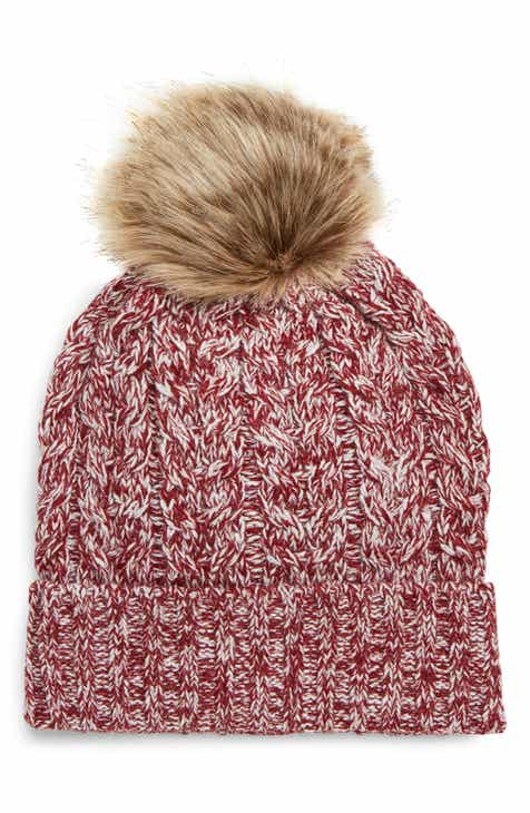 1a97872cdef Sole Society Cable Knit Beanie with Faux Fur Pom