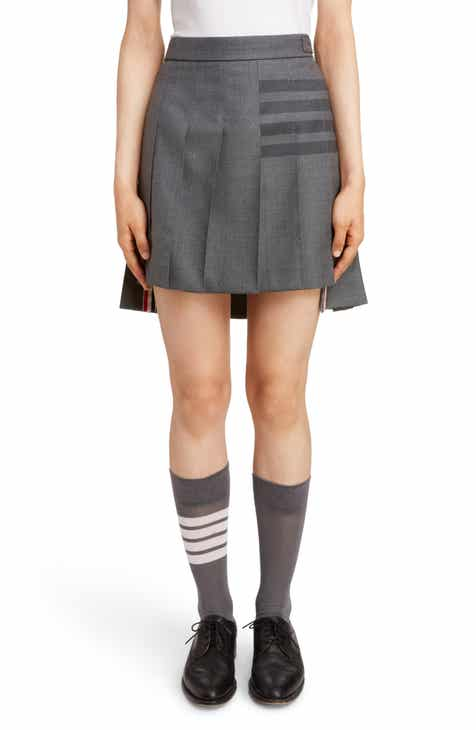 Thom Browne 4-Bar Pleated Twill Miniskirt by THOM BROWNE