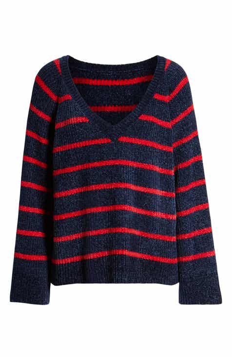 &.Layered Stripe V-Neck Sweater by AND LAYERED