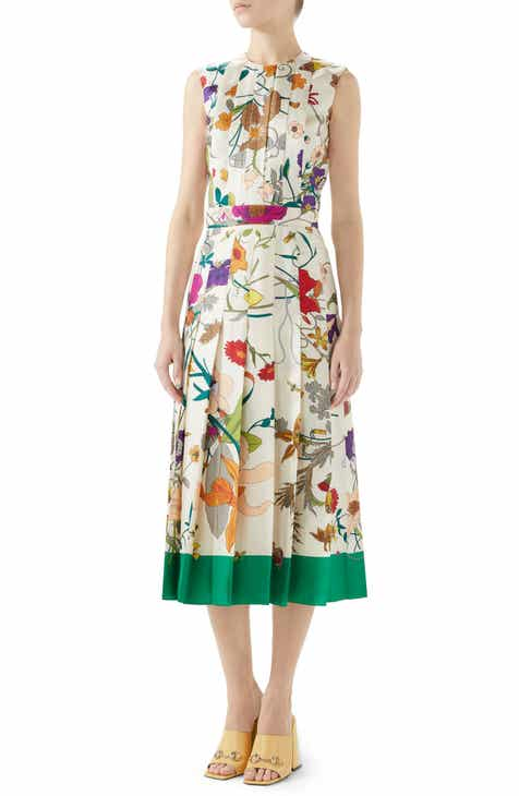 Gucci Flora Gothic Print Silk Pleated Midi Dress