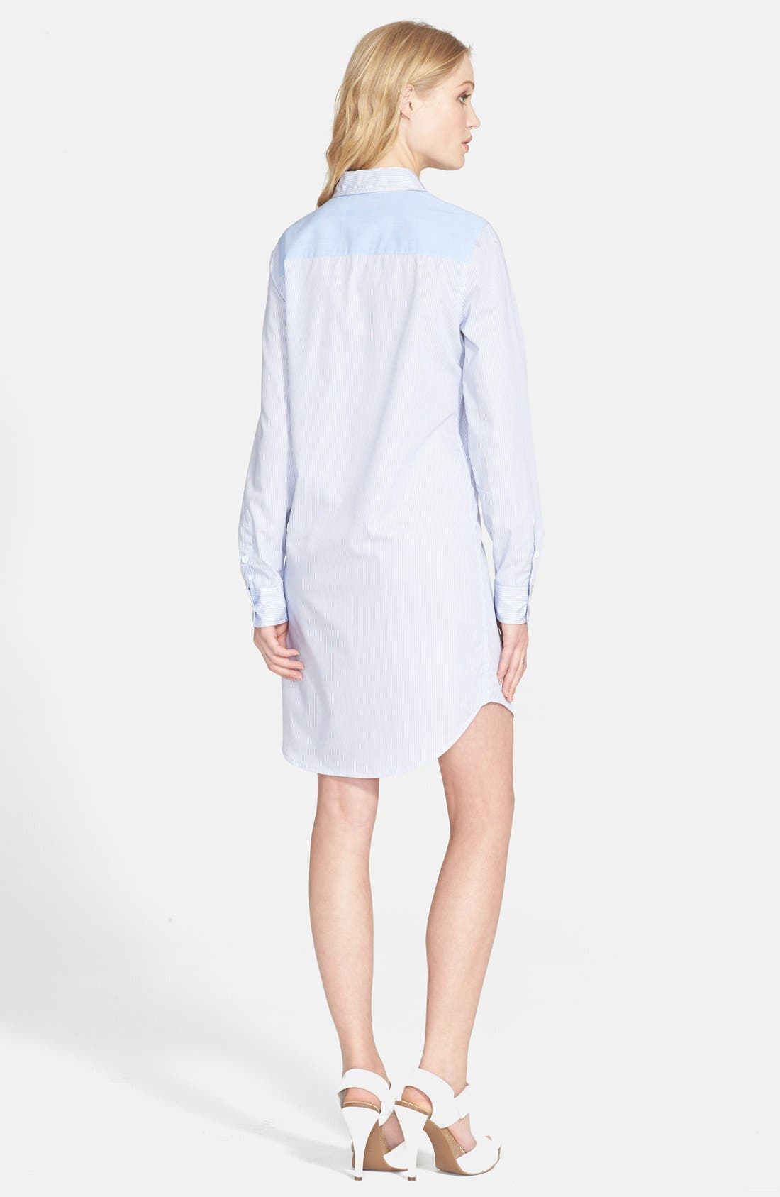 'Brett' Stripe Shirtdress,                             Alternate thumbnail 2, color,                             Periwinkle Blue/ Bright White