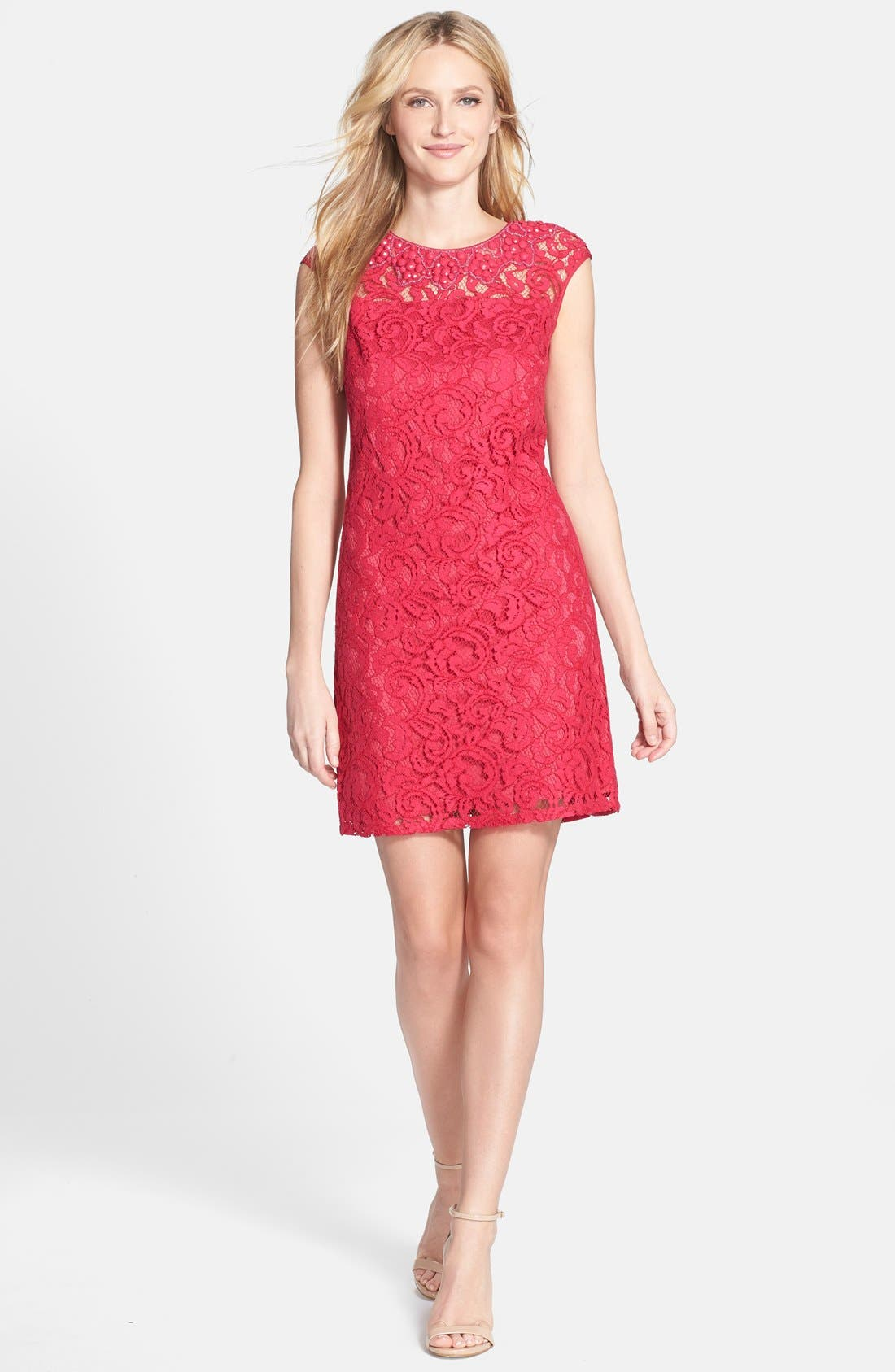 Alternate Image 1 Selected - Adrianna Papell Beaded Lace Sheath Dress (Regular & Petite)