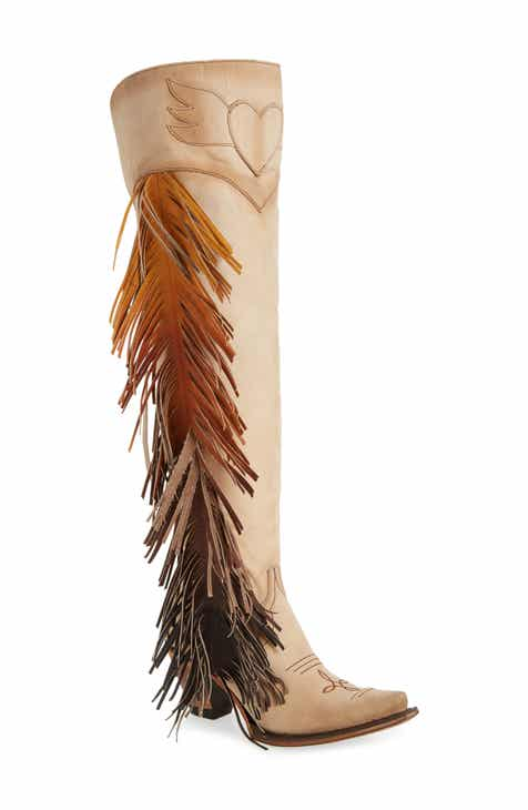 5ca9dd0a89362 LANE BOOTS x Junk Gypsy Fringe Over the Knee Western Boot (Women)