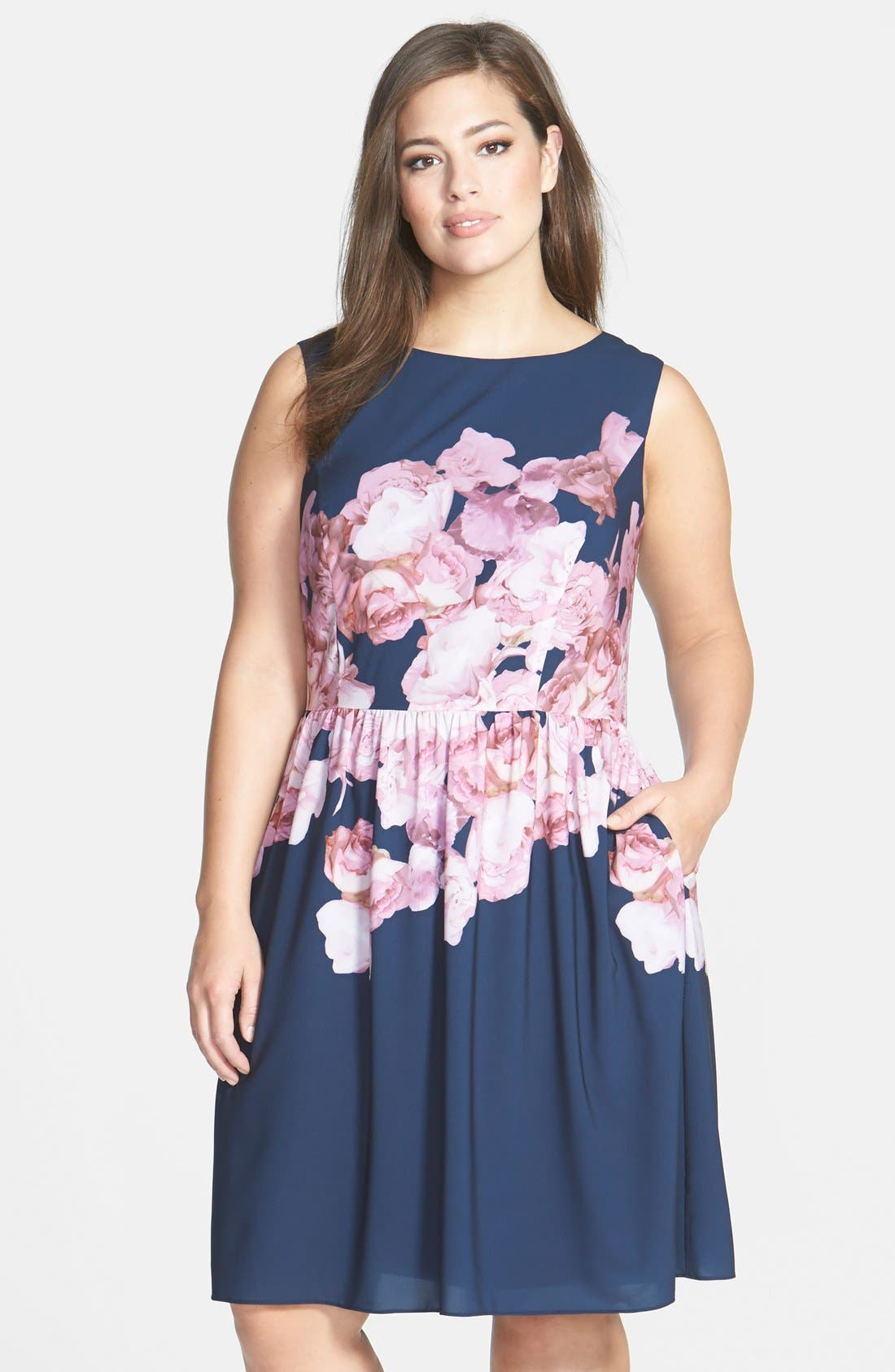 Main Image - Adrianna Papell Floral Print Chiffon Fit & Flare Dress (Plus Size)