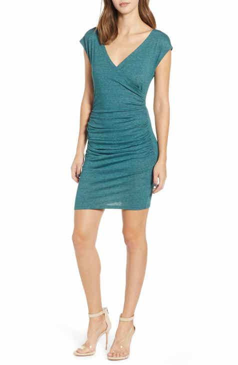 Leith Surplice Ruched Body-Con Dress (Regular & Plus Size) by LEITH