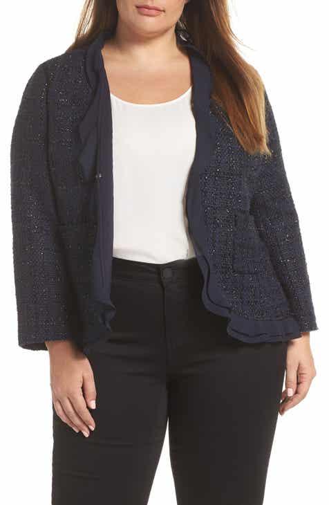 a614f4fafddfc Vince Camuto Indigo Tweed Ruffle Jacket (Plus Size)