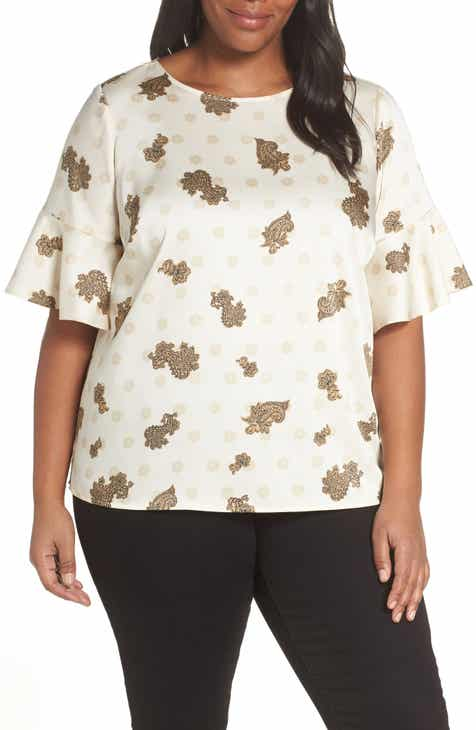 4d9f02f6098 Vince Camuto Paisley Elbow Sleeve Top (Plus Size)