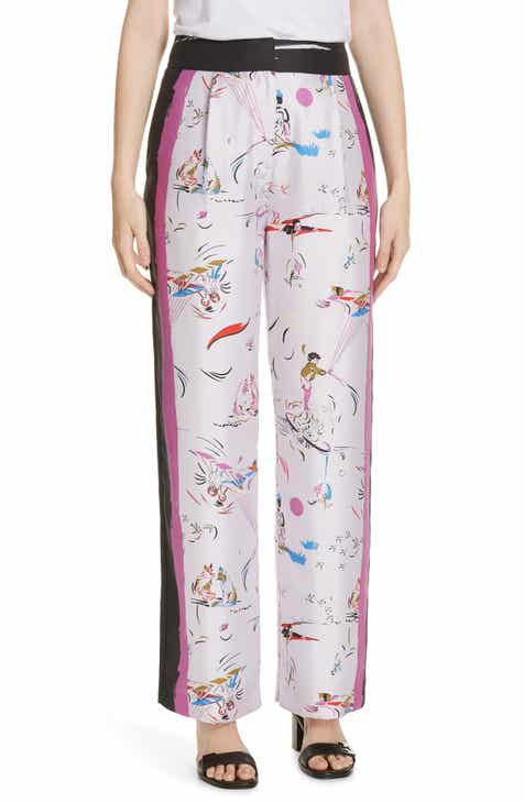 13597678ad5 Tory Burch Painted Border Wide Leg Silk Pants
