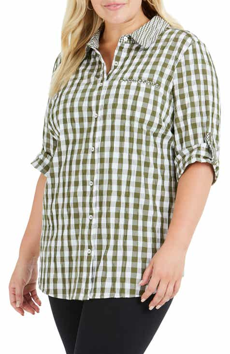 f3a46227bcc21 Foxcroft Reese Gingham Shirt (Plus Size)
