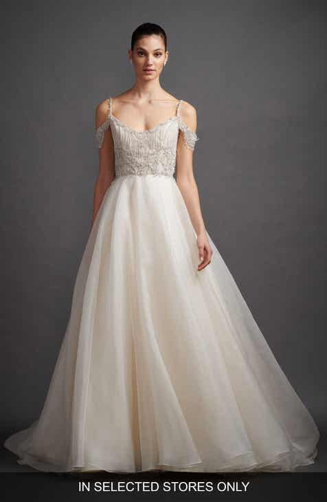 Lazaro Juliet Beaded Cold Shoulder Organza Ballgown