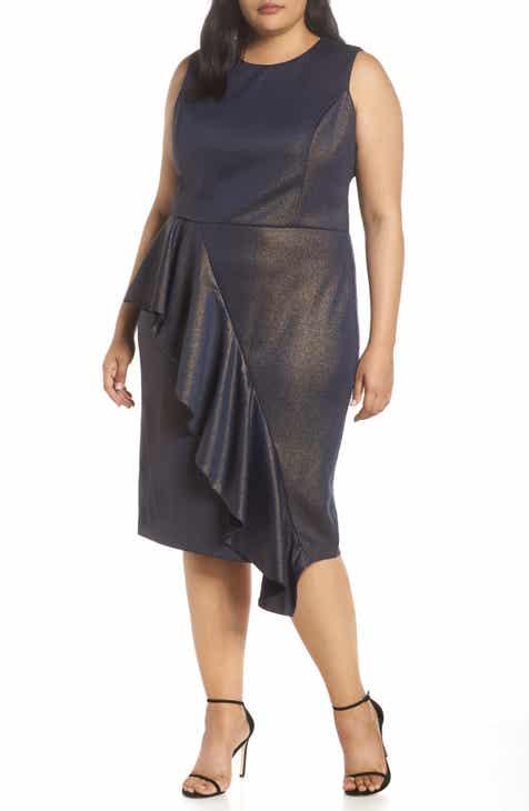 b86405b0486 RACHEL Rachel Roy Metallic Ruffle Sheath Dress (Plus Size)