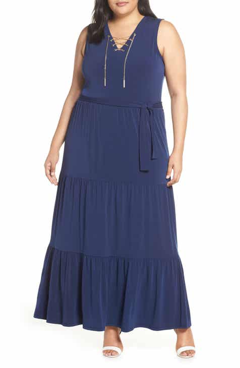 585a23041f MICHAEL Michael Kors Lace Up Stretch Knit Maxi Dress (Plus Size)
