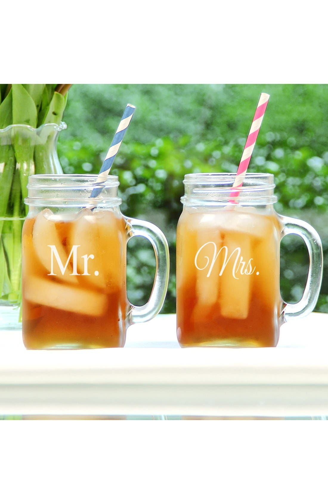 Alternate Image 1 Selected - Cathy's Concepts 'For The Couple' Mason Jar Glasses with Handles (Set of 2)