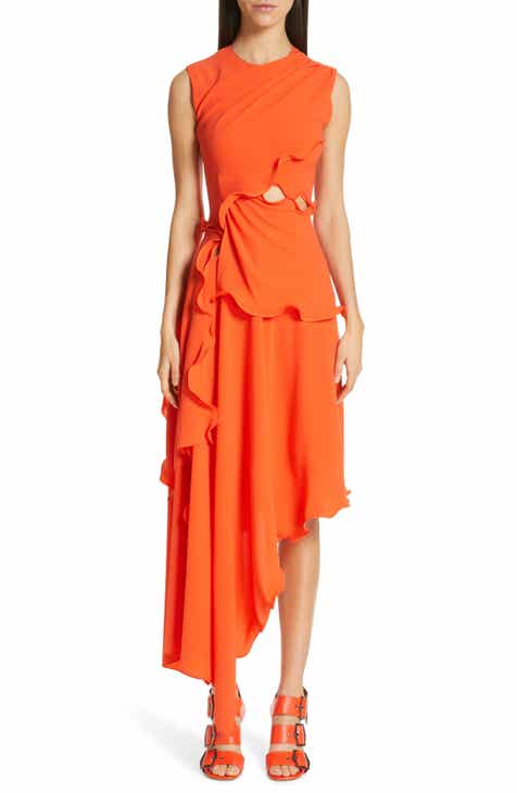 Sies Marjan Ruffle Trim Asymmetrical Crepe Dress by SIES MARJAN
