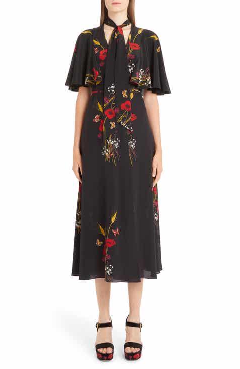 Valentino Floral Meadow Print Crêpe de Chine Faux Wrap Dress by VALENTINO