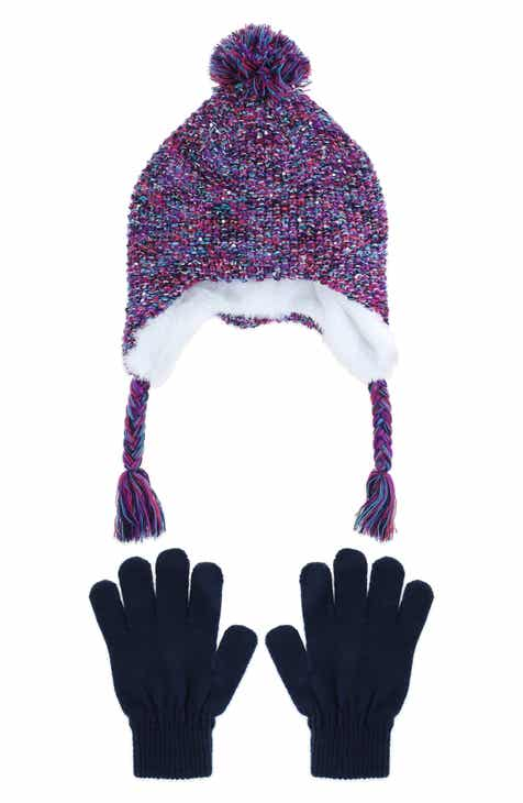 Capelli New York Space Dyed Earflap Hat & Gloves Set (Big Girls)