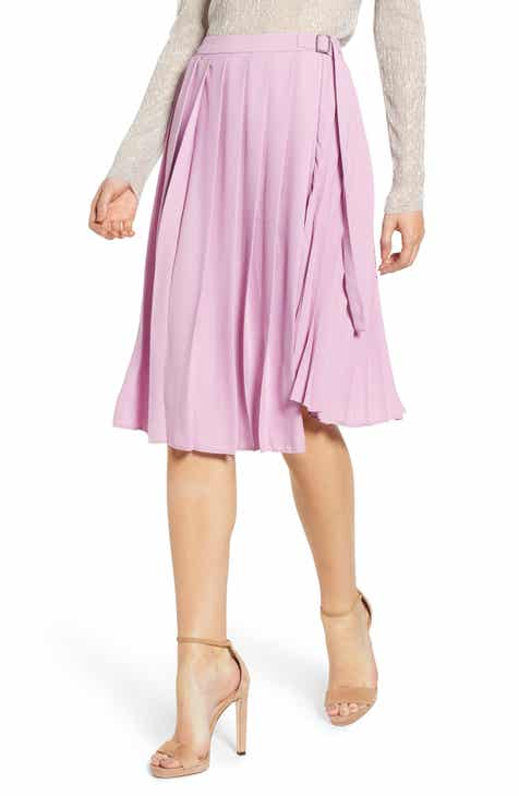 Leith Asymmetrical Pleated Faux Wrap Skirt